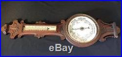 Antique English Oak Aneroid Barometer / Thermometer