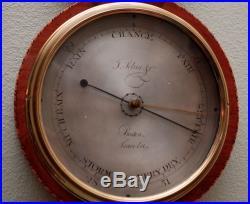 Antique English Sheraton Period Wheel Barometer J. Selua & Co. Ca. 1820