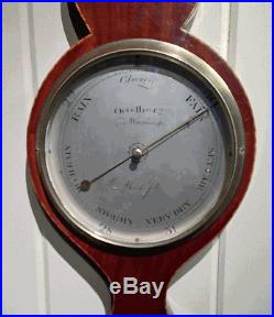 Antique English Sheraton Style Wheel Barometer by Ortelli & Co. Dated 1806