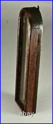 Antique English Victorian Oak Aneroid Wall Thermometer Part From Banjo Barometer