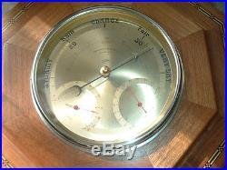 Antique English Wall Barometer & Thermometer Tunbridge Wood SB British Made