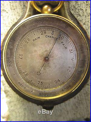 Antique English combination pocket barometer thermometer compass