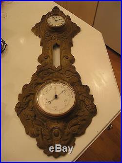 Antique Figural Cast Iron WHEEL BAROMETER / THERMOMETER / CLOCK Ornate & Heavy