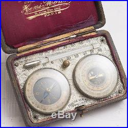 Antique French Alpine Sac Pocket BAROMETER THERMOMETER COMPASS by H. Morin Paris
