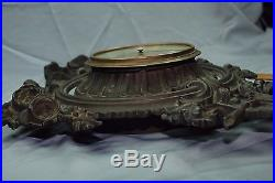 Antique French Aneroid Barometer Set In Cast Iron Ornate Frame
