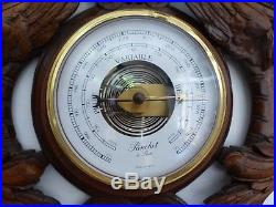 Antique French Black Forest Carved 28 Barometer & Thermometer Griffin theme