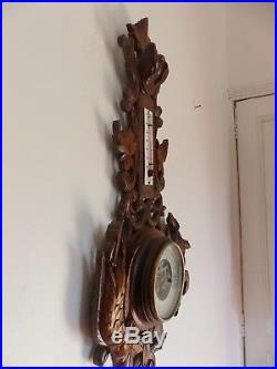 Antique French Black Forest Carved 28 Barometer & Thermometer Hunting theme