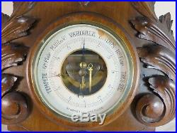 Antique French Black Forest Carved 29 Barometer & Thermometer Only for Deco