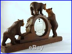 Antique French Black Forest Carved Barometer Rare 3 Bears figures 12 x 7 1900