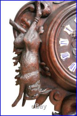 Antique French Black Forest Clock & Barometer, 19th Century, Oak