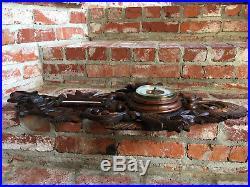 Antique French Carved Black Forest Dog Hound Hunt Barometer Bird Coat Hat Rack