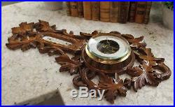 Antique French Carved Oak BLACK FOREST Barometer Thermometer Bird Crown