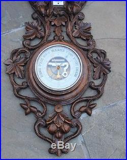 Antique French Carved Oak BLACK FOREST Barometer Thermometer Dog Pheasants LARGE