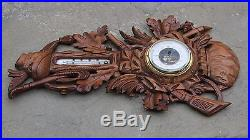 Antique French Carved Oak BLACK FOREST Barometer Thermometer HUNT Rifles Guns