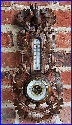 Antique French Carved Oak BLACK FOREST Hunt Barometer Thermometer Deer Stag