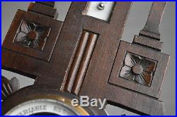 Antique French Carved wood, Barometer & Thermometer