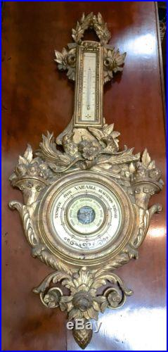 Antique French Wall Barometer Carved Giltwood 1800s