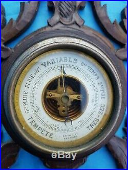 Antique French, barometer, thermometer, carved wood, black forest, 19th