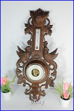 Antique French black forest wood carved design birds dog hunting barometer