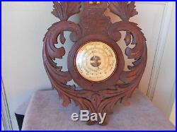 Antique French wood Carved BLACK FOREST Barometer & Thermometer