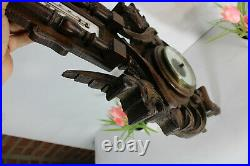 Antique French wood carved Dragon gothic castle wall barometer