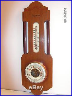 Antique GERMAN Mahogany Wall Mount Barometer/Thermometer Weather Station-WORKS