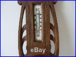 Antique German Art Nouveau 17 Wall Barometer & Thermometer