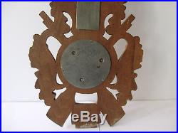 Antique German Black Forest 17 Hunting Deer Head Wall Barometer & Thermometer