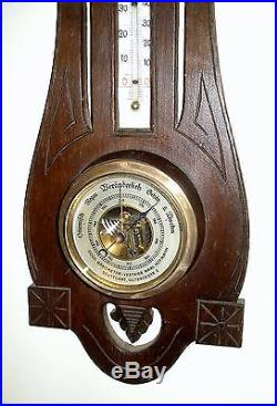 Antique German Black Forest Hand-Carved Wood Weather Station Barometer c. 1910