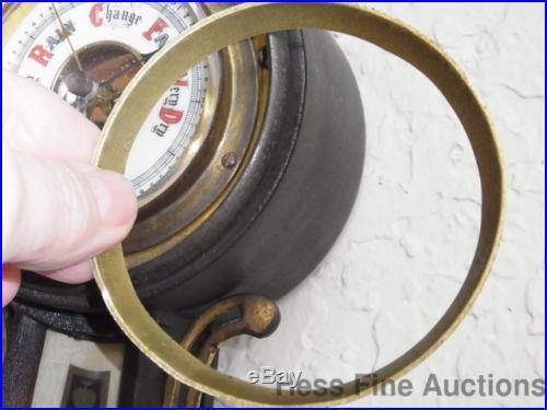Antique German Signed S H Porcelain Face Banjo Reverse Glass Barometer Restore