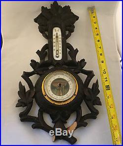 Antique German Sturm Black Forest Wood Carved Barometer Thermometer