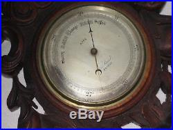 Antique Hand Carved Wood Wall Barometer Thermometer Tiger Oak circa 1880-1890's