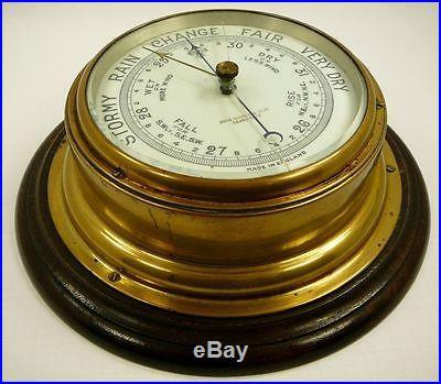 Antique John Baker Kensington Brass Barometer Nautical Maritime Ship England vtg