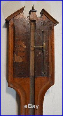 Antique John Stopani English Inlaid Wood Barometer Frame As Is