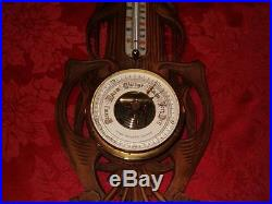 Antique Kluger Optical Co. Cleveland Hand Carved Wood Barometer, Thermometer