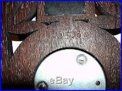 Antique LARGE 16.5 wood carved german Black Forest BAROMETER thermometer 1880s
