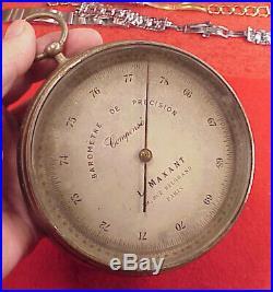 Antique L Maxant Maritime barometer Paris 38 Rue Belgrand Compensated 4 3/8 inch