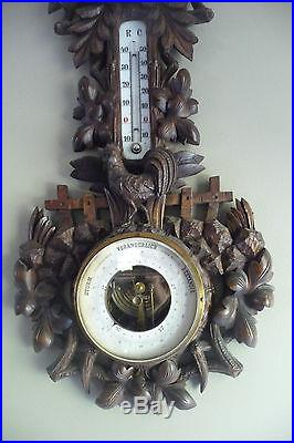 Antique Late 19thC German Black Forest Carved Wood Rooster Barometer Thermometer