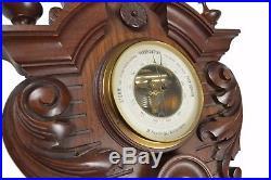 Antique Leaf Carved Architectural Walnut Barometer / Thermometer, Dutch