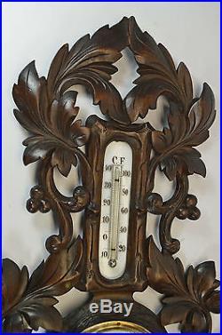Antique Leaf Carved Barometer / Thermometer, Dutch