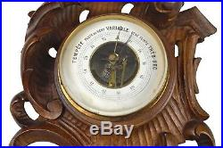 Antique Leaf Carved Barometer, Thermometer, French