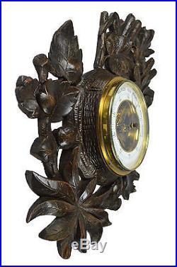 Antique Leaf Carved Black Forest Style Barometer, Dutch