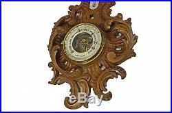 Antique Leaf and C Scroll Carved Barometer / Thermometer, Dutch