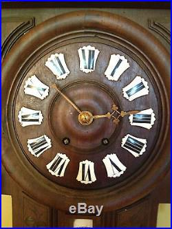 Antique Likley French Carved Wood Wall Barometer Aneroide Thermometer / Clock