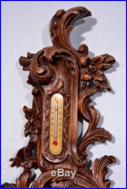 Antique Louis XV Barometer Thermometer Weather Station Deeply Carved Oak Wood