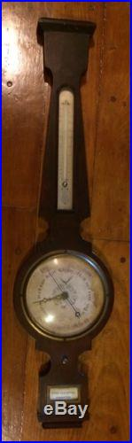 Antique Mahogany American Weatherstation Barometer Signed L. A. Smith