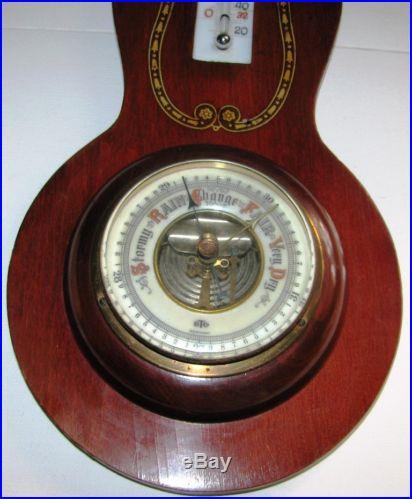 Antique Mahogany Banjo Style Barometer B. T Company Germany Porcelain Glass