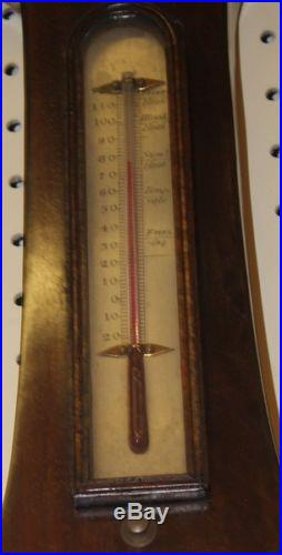 Antique Mahogany English Weatherstation Barometer Signed A & G Taroni Hanley