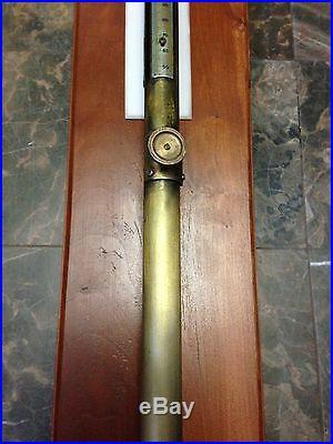 Antique Mid 19th Century Brass Navy Ship Stick Barometer Civil War Time
