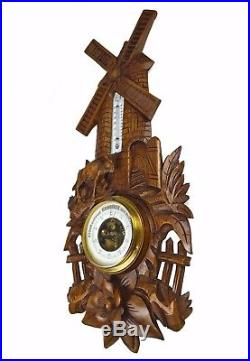 Antique Mill and Donkey Carved Barometer / Thermometer, Dutch